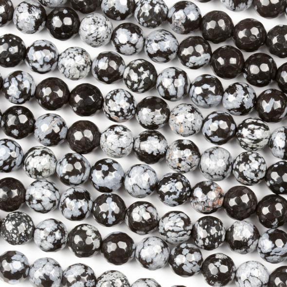 Snowflake Obsidian 8mm Faceted Round Beads - 15 inch strand