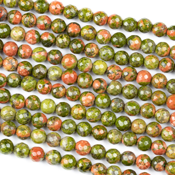 Unakite 6mm Faceted Round Beads - 15 inch strand