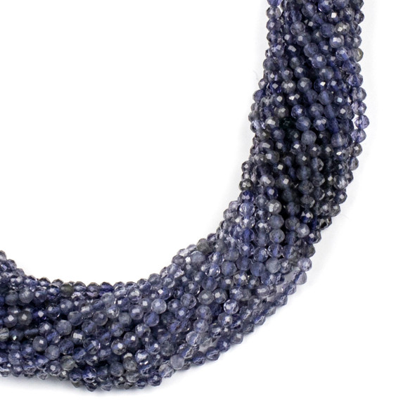 Multicolor Iolite 2mm Faceted Round Beads - 15 inch strand