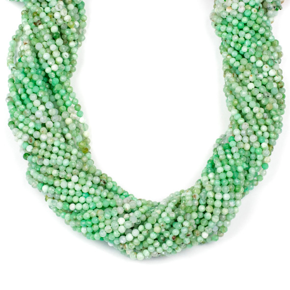 Multicolor Chrysoprase 3mm Faceted Round Beads - 15 inch strand