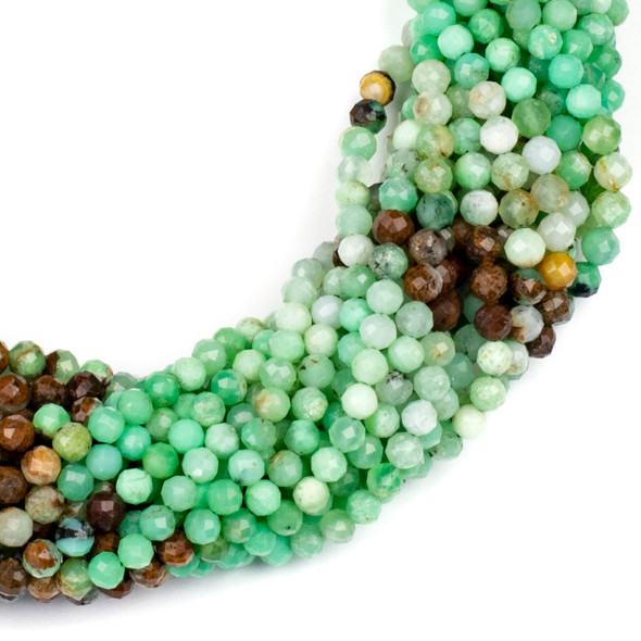 Multicolor Chrysoprase 4mm Faceted Round Beads - 15 inch strand