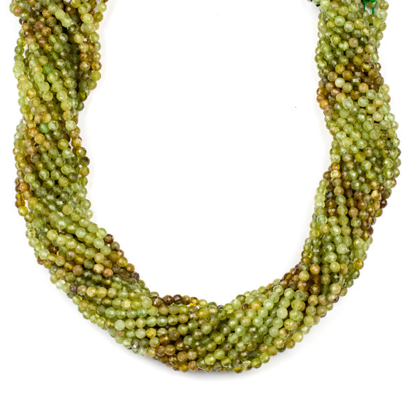 Multicolor Green Garnet 3.5mm Faceted Round Beads - 15 inch strand