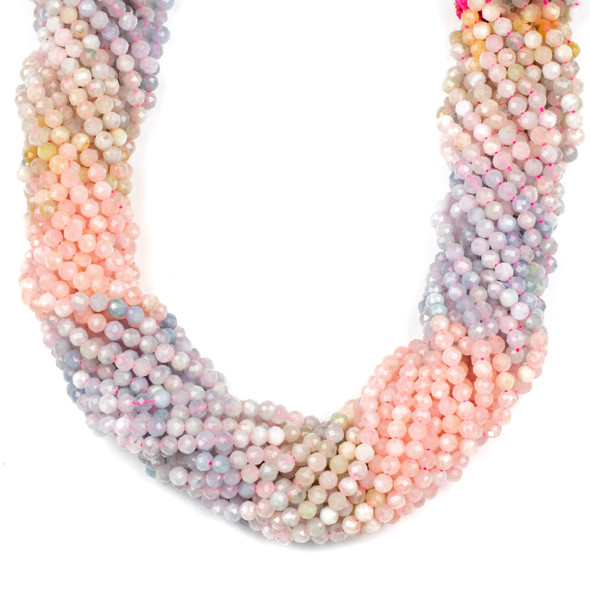 Multicolor Morganite 4mm Faceted Round Beads - 15 inch strand