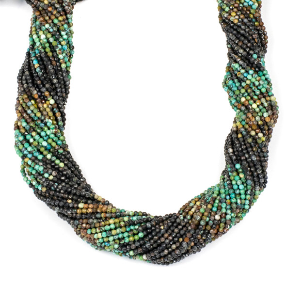 Multicolor Natural Turquoise 2mm Faceted Round Beads - 15 inch strand