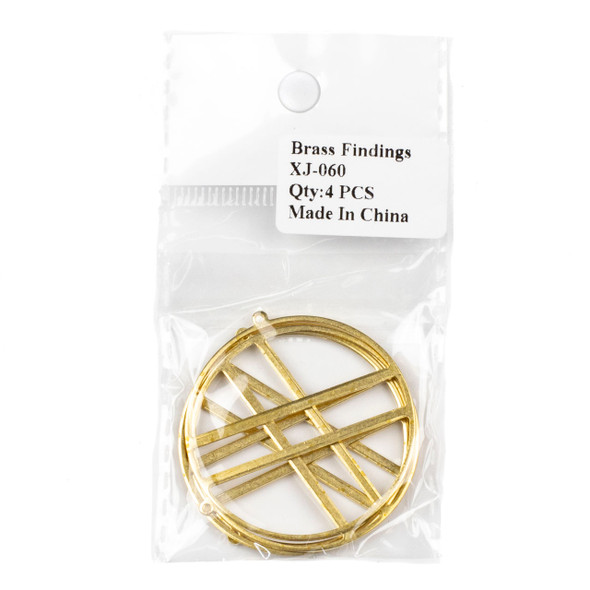 Raw Brass 43x45mm Hoop Components with 2 Bars - 4 per bag - CTBXJ-060