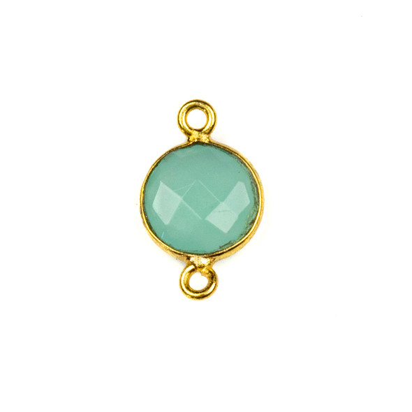Aqua Chalcedony 10x16mm Faceted Coin Link with a Gold Plated Brass Bezel - 1 per bag