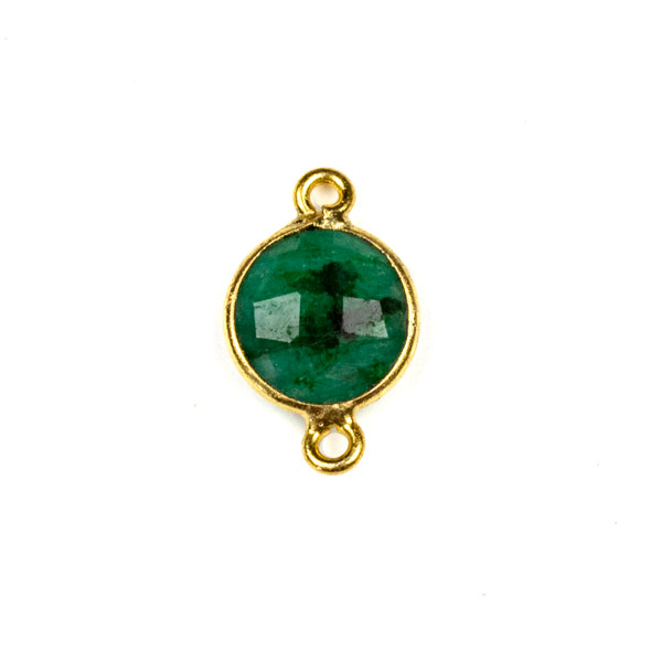 Emerald 10x16mm Faceted Coin Link with a Gold Plated Brass Bezel - 1 per bag