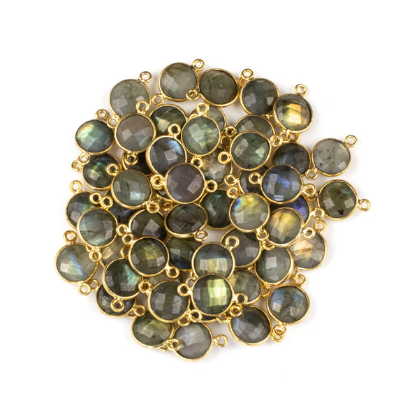 Labradorite 10x16mm Faceted Coin Link with a Gold Plated Brass Bezel - 1 per bag