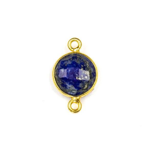 Lapis 10x16mm Faceted Coin Link with a Gold Plated Brass Bezel - 1 per bag