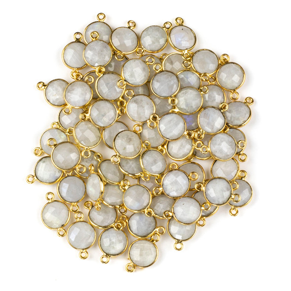 Moonstone 10x16mm Faceted Coin Link with a Gold Plated Brass Bezel - 1 per bag