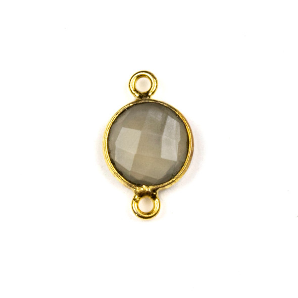 Mystic Moonstone 10x16mm Faceted Coin Link with a Gold Plated Brass Bezel - 1 per bag