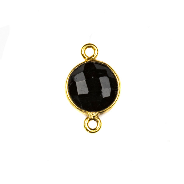 Onyx 10x16mm Faceted Coin Link with a Gold Plated Brass Bezel - 1 per bag