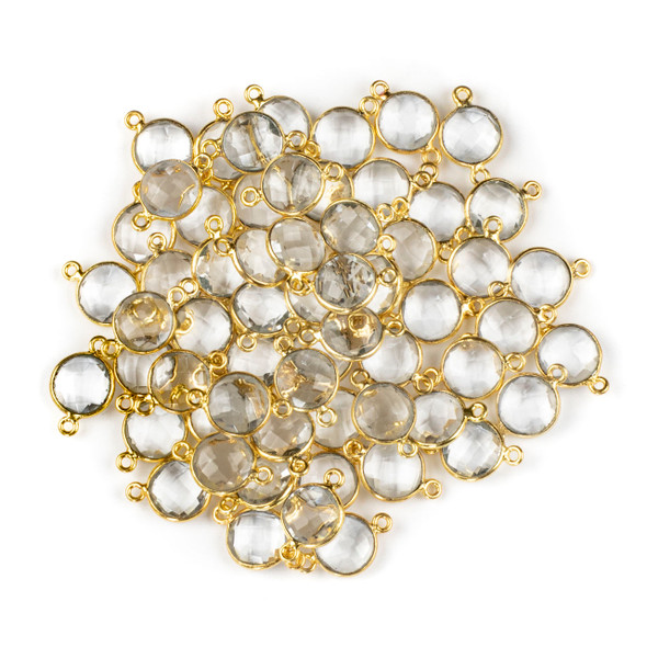 Quartz 10x16mm Faceted Coin Link with a Gold Plated Brass Bezel - 1 per bag