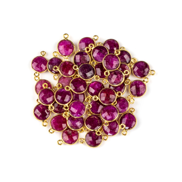 Ruby 10x16mm Faceted Coin Link with a Gold Plated Brass Bezel - 1 per bag