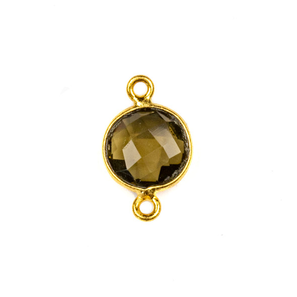 Smoky Quartz 10x16mm Faceted Coin Link with a Gold Plated Brass Bezel - 1 per bag