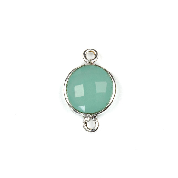 Aqua Chalcedony 10x16mm Faceted Coin Link with a Silver Plated Brass Bezel - 1 per bag