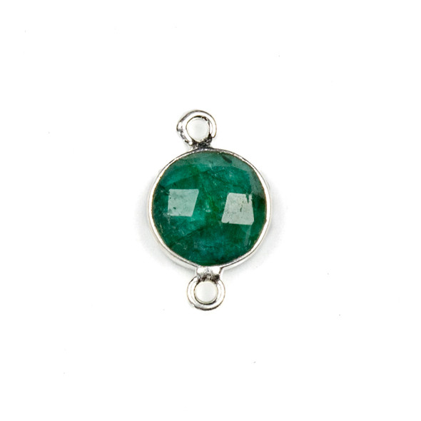 Emerald 10x16mm Faceted Coin Link with a Silver Plated Brass Bezel - 1 per bag