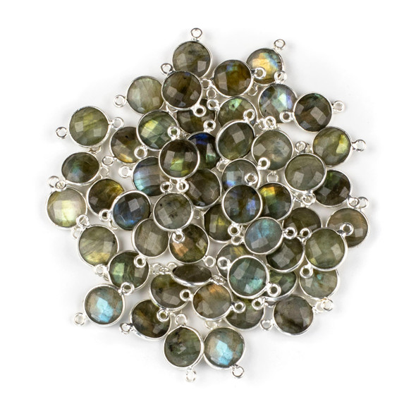 Labradorite 10x16mm Faceted Coin Link with a Silver Plated Brass Bezel - 1 per bag