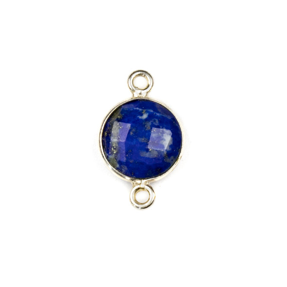 Lapis 10x16mm Faceted Coin Link with a Silver Plated Brass Bezel - 1 per bag