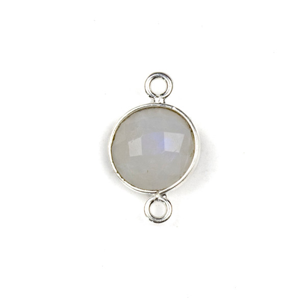 Moonstone 10x16mm Faceted Coin Link with a Silver Plated Brass Bezel - 1 per bag