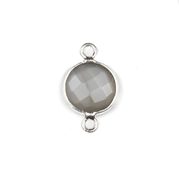 Mystic Moonstone 10x16mm Faceted Coin Link with a Silver Plated Brass Bezel - 1 per bag