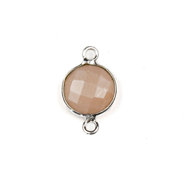 Peach Moonstone 10x16mm Faceted Coin Link with a Silver Plated Brass Bezel - 1 per bag