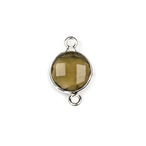 Smoky Quartz 10x16mm Faceted Coin Link with a Silver Plated Brass Bezel - 1 per bag