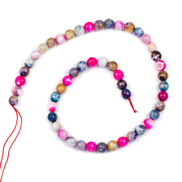 Cracked Agate 8mm Faceted Rounds in a Bubble Gum Mix - 15.5 inch strand
