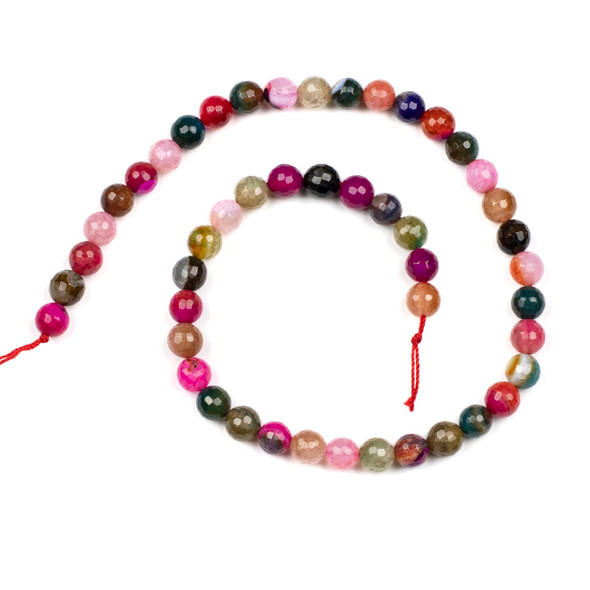 Cracked Agate 8mm Faceted Rounds in a Jewel Tone Mix - 15.5 inch strand