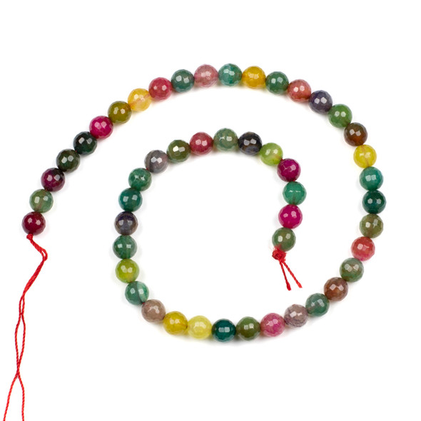 Cracked Agate 8mm Faceted Rounds in a Hard Candy Mix - 15.5 inch strand