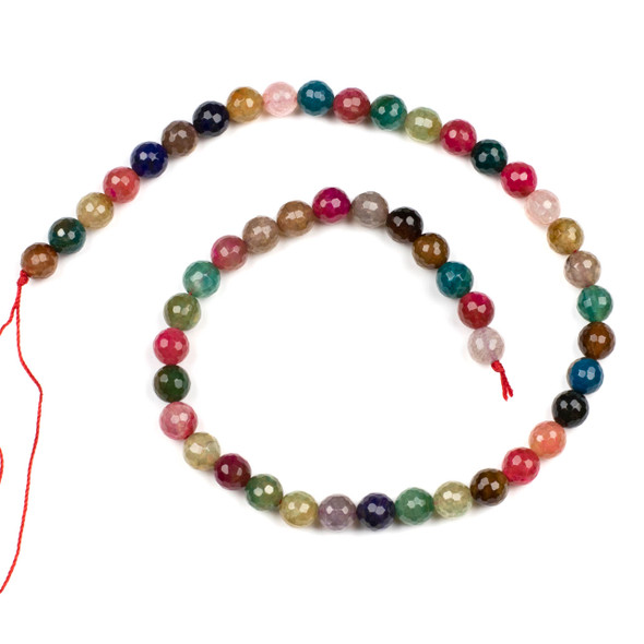 Cracked Agate 8mm Faceted Rounds in a Seascape Mix - 15.5 inch strand