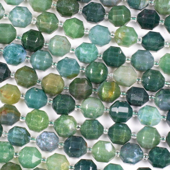 Moss Agate 9x10mm Faceted Prism Beads - 15 inch strand