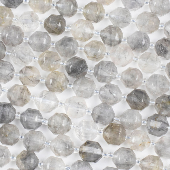 Tourmalinated Quartz 9x10mm Faceted Prism Beads - 15 inch strand