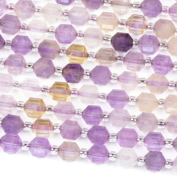 Ametrine 6x7mm Faceted Prism Beads - 15 inch strand