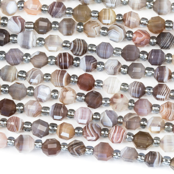 Botswana Agate 5x5.5mm Faceted Prism Beads - 15 inch strand