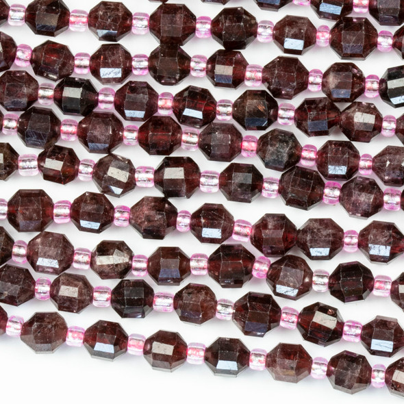 Garnet 5x6mm Faceted Prism Beads - 15 inch strand