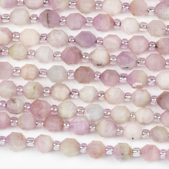 Kunzite 5x6mm Faceted Prism Beads - 15 inch strand