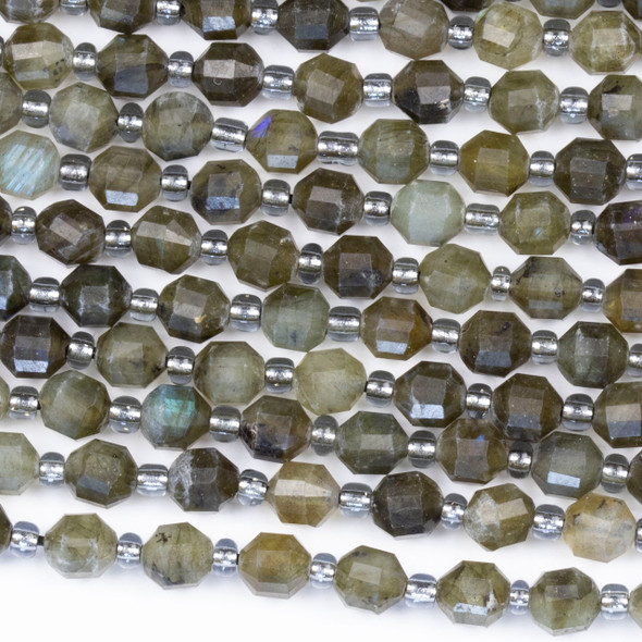 Grey Labradorite 5x6mm Faceted Prism Beads - 15 inch strand