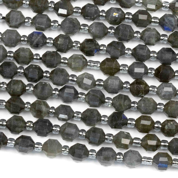 Dark Blue Labradorite 5x6mm Faceted Prism Beads - 15 inch strand