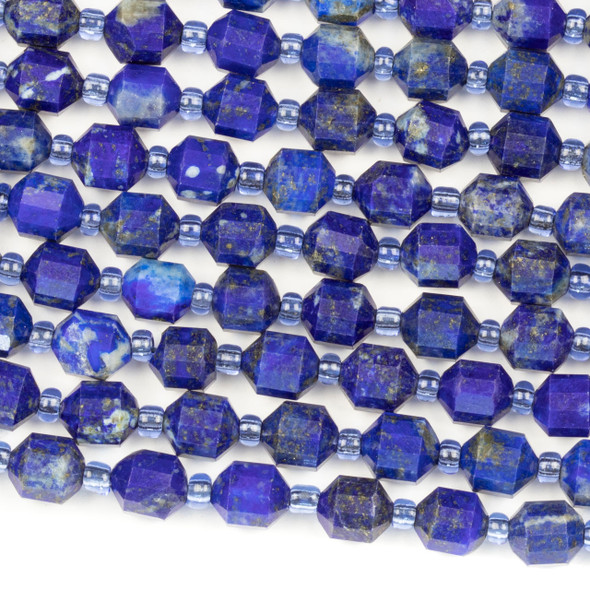 Lapis 6x7mm Faceted Prism Beads - 15 inch strand
