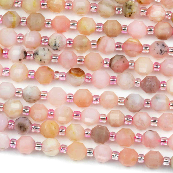 Pink Opal 6mm Faceted Prism Beads - 15 inch strand