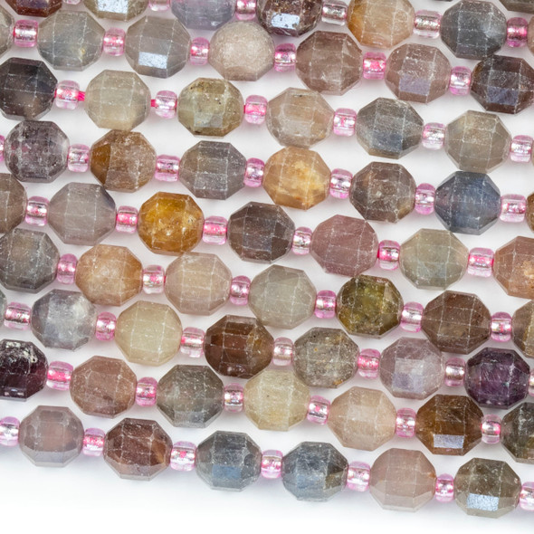 Red and Blue Opal 6x7mm Faceted Prism Beads - 15 inch strand