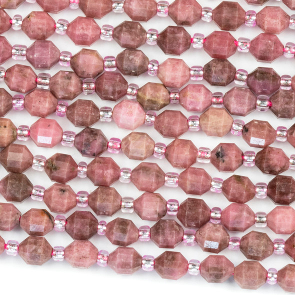 Rhodonite 5x6mm Faceted Prism Beads - 15 inch strand