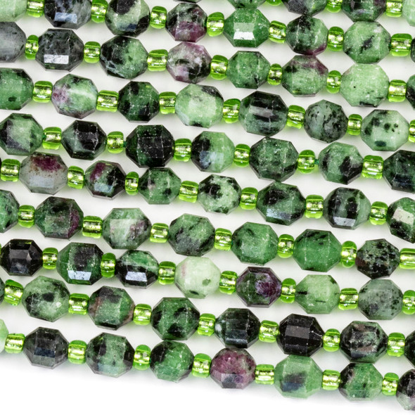 Ruby Zoisite 5x6mm Faceted Prism Beads - 15 inch strand