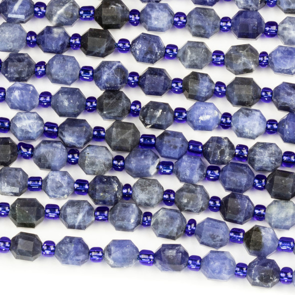 Sodalite 5x6mm Faceted Prism Beads - 15 inch strand