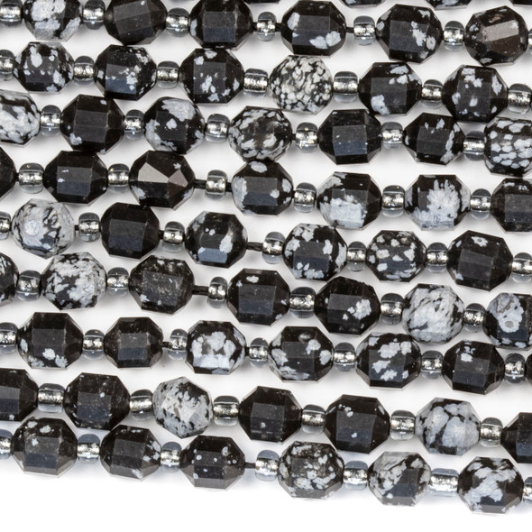 Snowflake Obsidian 5x6mm Faceted Prism Beads - 15 inch strand