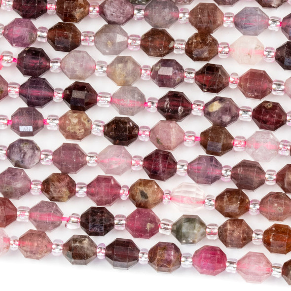 Rainbow Spinel 5x6mm Faceted Prism Beads - 15 inch strand