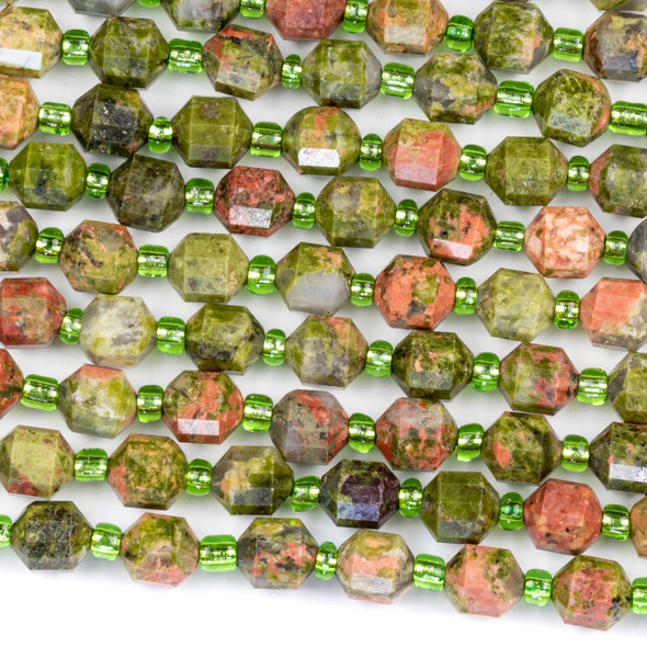 Unakite 6x7mm Faceted Prism Beads - 15 inch strand