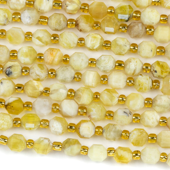 Yellow Opal 5x6mm Faceted Prism Beads - 15 inch strand