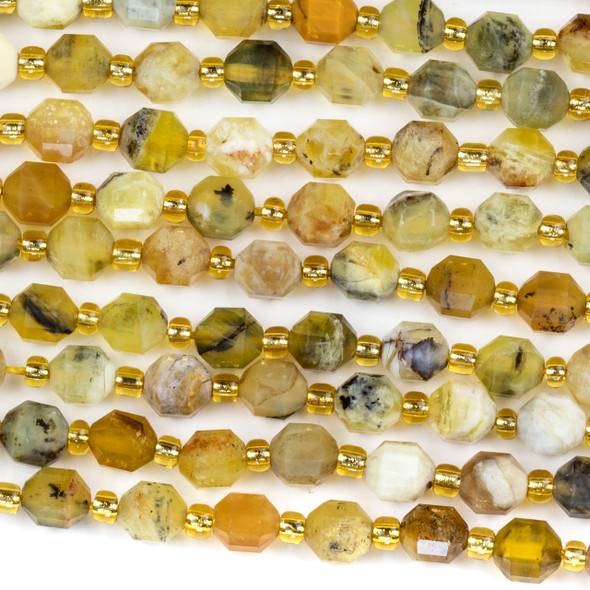 Multicolor Yellow Opal 5x6mm Faceted Prism Beads - 15 inch strand